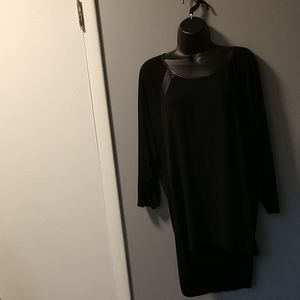 Maurice's long black tunic with leather accents